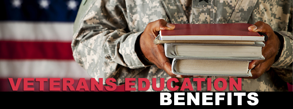 """Photo of soldier holding 3 stacked books in front of her with words """"Veterans Education Benefits"""""""