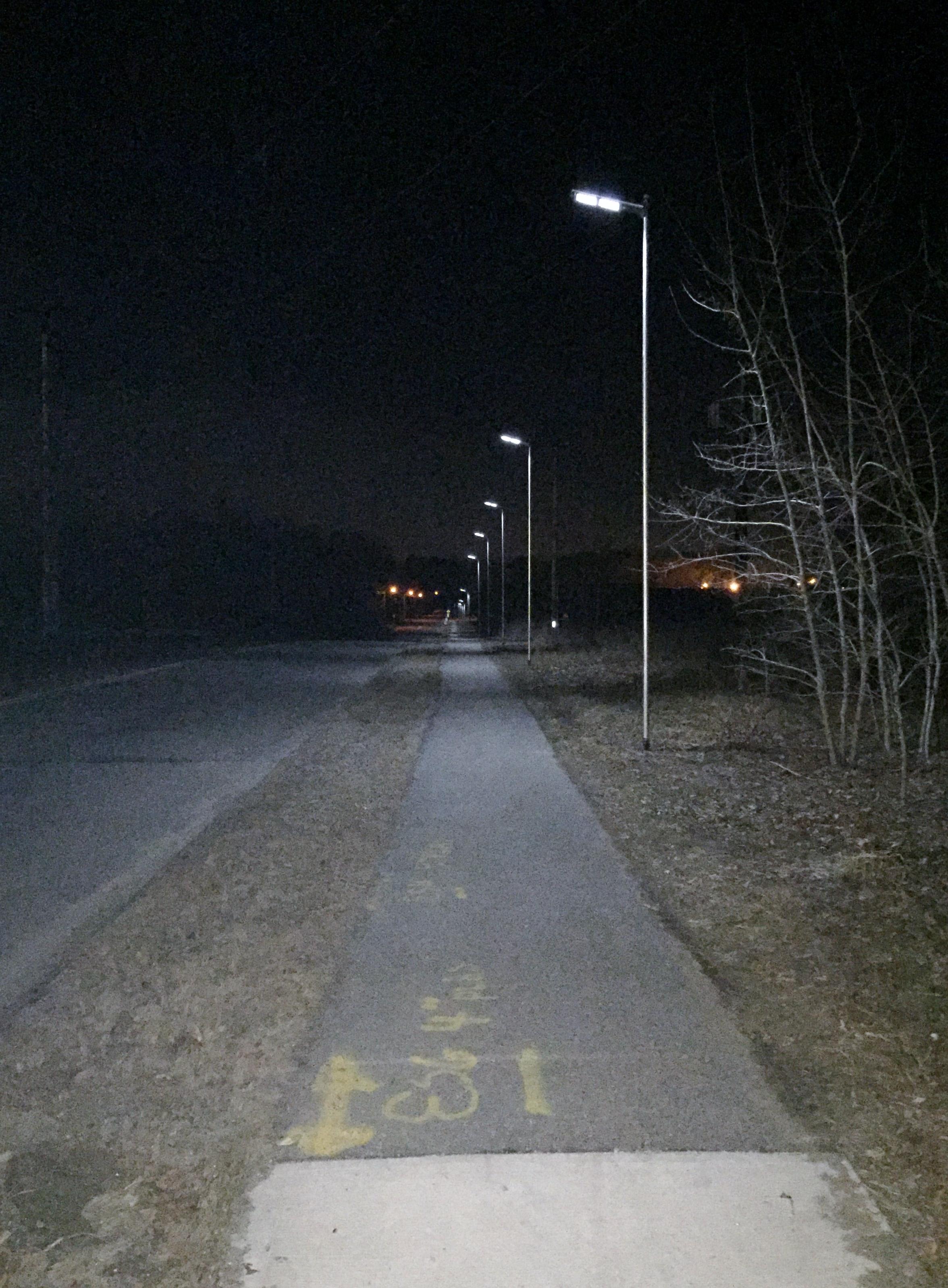 Smith Valve Solar Powered Sidewalk Lights Looking Toward the MBTA Station